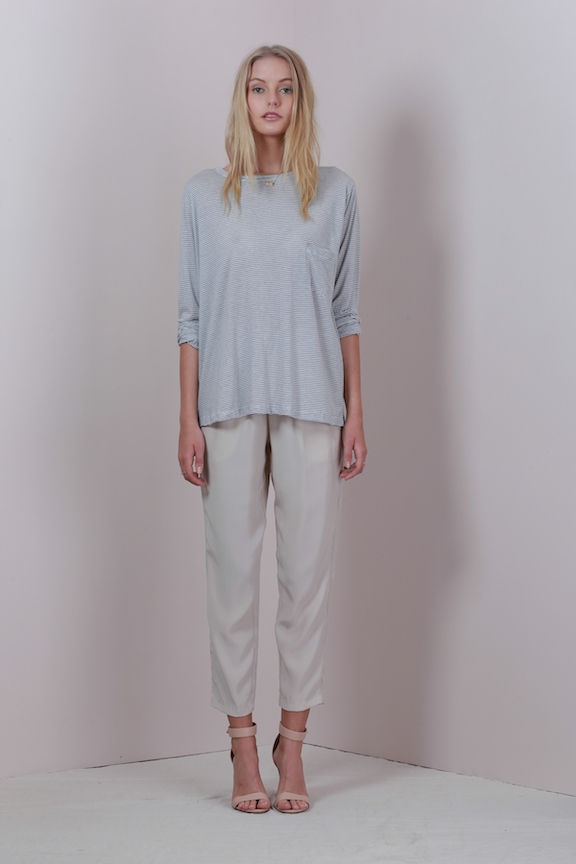 LILYA loulou top grey white stripe - lucia pant nude silk