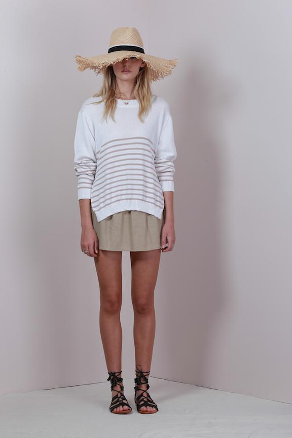 LILYA sailor knit top white sand - rosea linen skirt natural - inez sandal